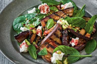 Warm salad of sweet and sour eggplants: Celia Brooks