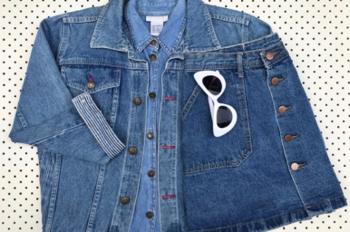Never ever pay retail and Peppermint: op shopping denim jacket