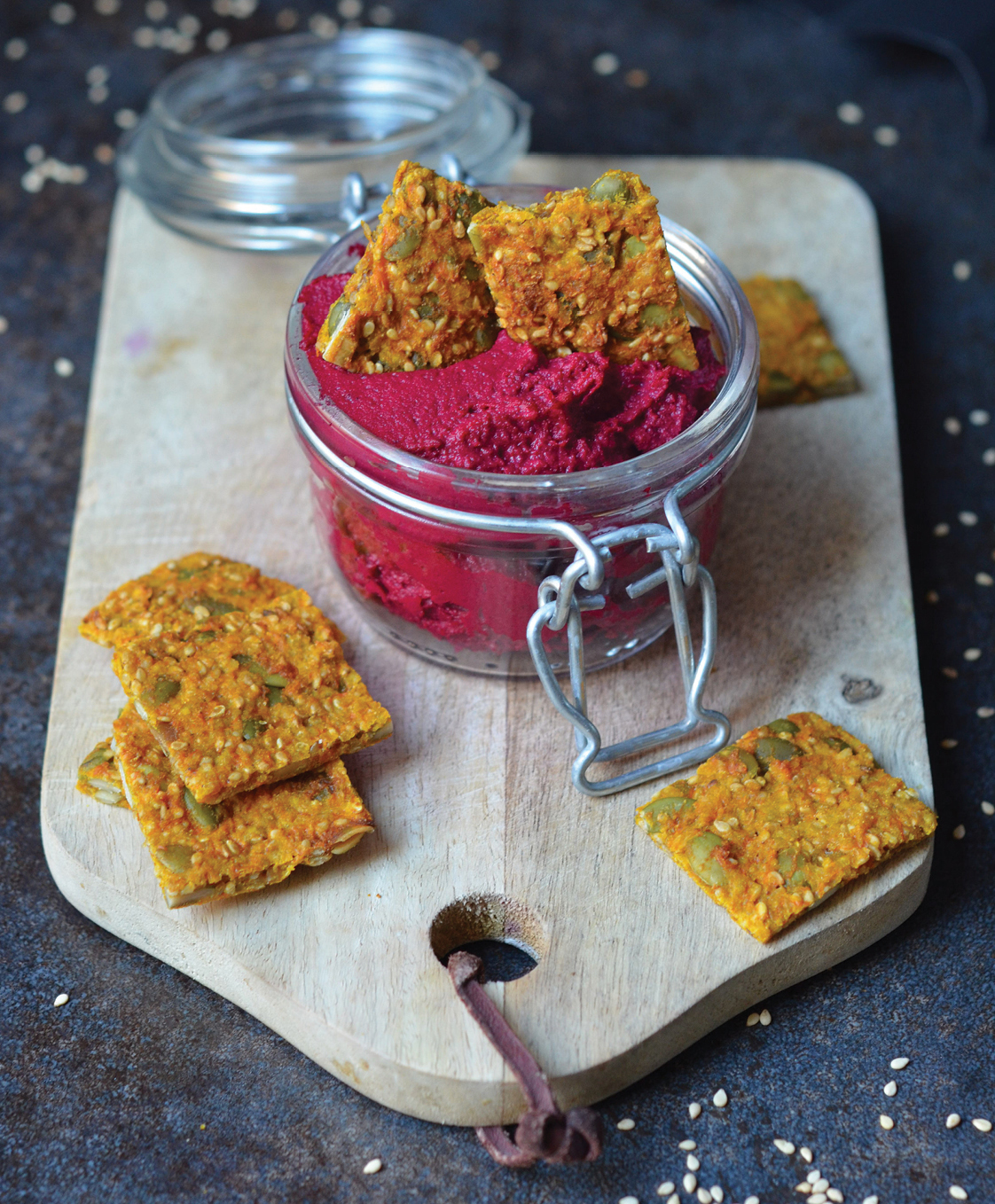 There's a carrot in my pinata beetroot houmous crisp