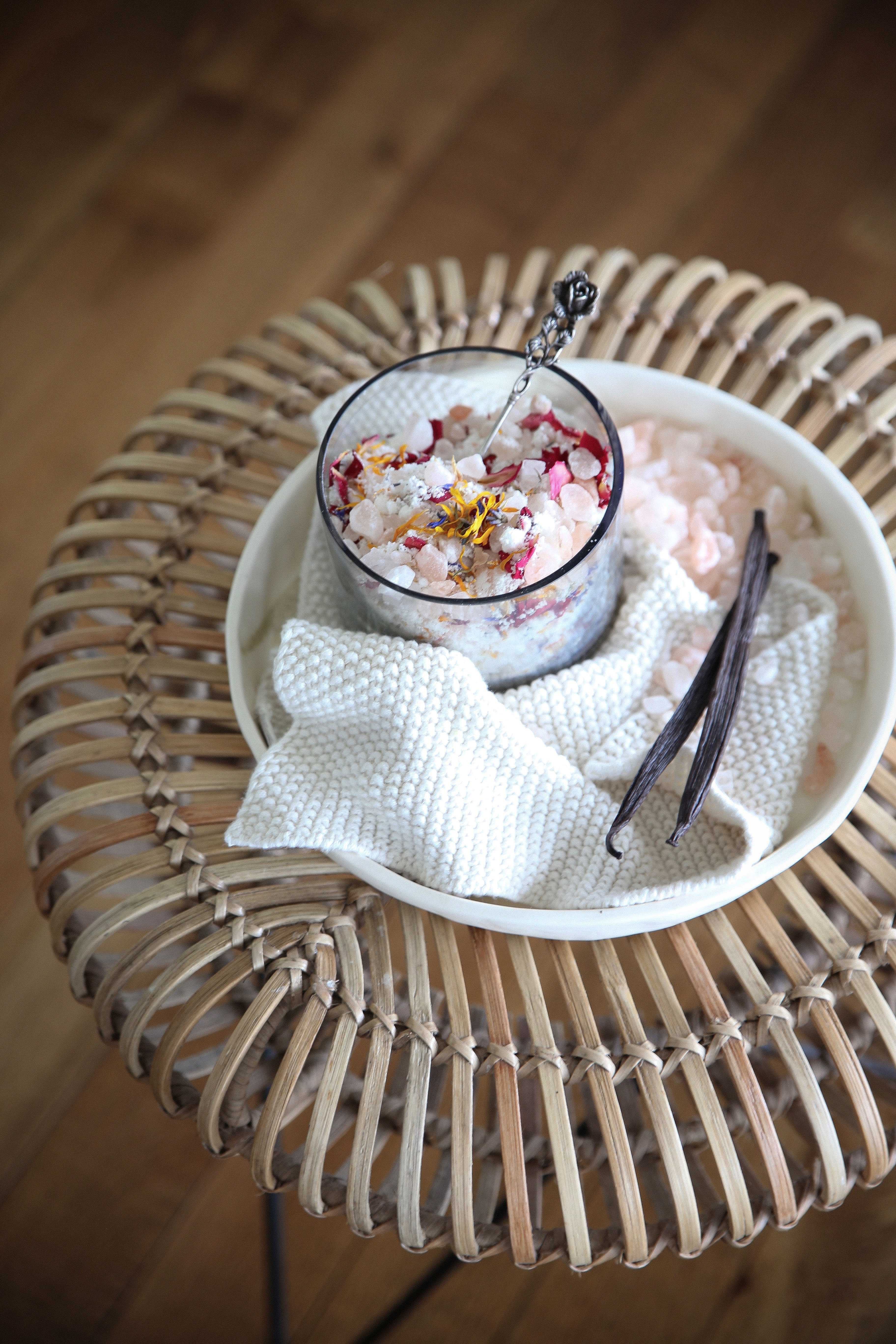 Eleanor Ozich's coconut milk vanilla and pink salt bath soak