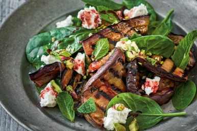 Warm salad of sweet and sour eggplants: Celia Brooks